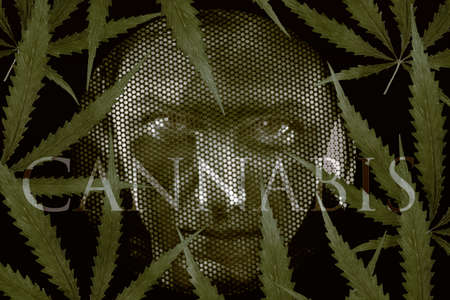 grates: Human looking through grates and cannabis leaves. Addiction and jail concept.