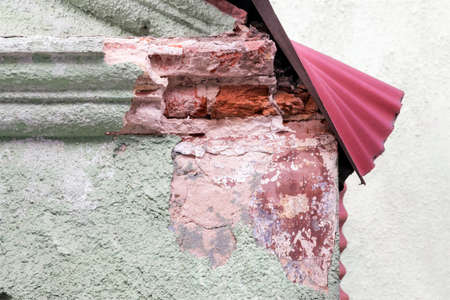 decomposing: Close view of decomposing roof corner Stock Photo