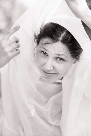 vested: Portrait of a girl vested with a white cloth, black and white