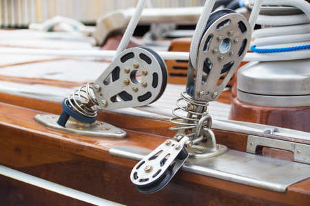 lashing: Close view of ropes fastening mechanisms in a yacht