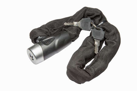 fastening objects: Bicycle lock with keys isolated on a  white background