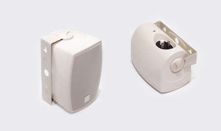 Two white loudspeakers on a white background Stock Photo