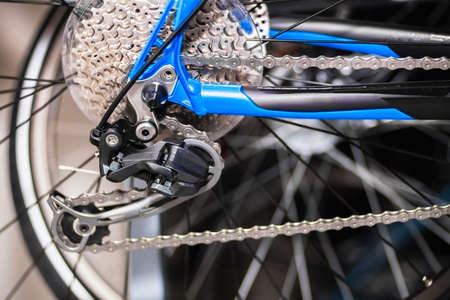freewheel: Close view of a bicycle rear cassette and gearshift Stock Photo