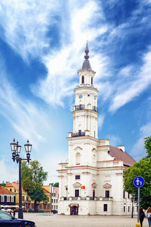 kaunas: Town Hall of Kaunas stands in the middle of the Town Hall Square at the heart of the Old Town, Kaunas, Lithuania.The structure dates from the 16th century.