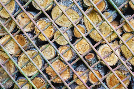 Timber logs  behind metal grates for background