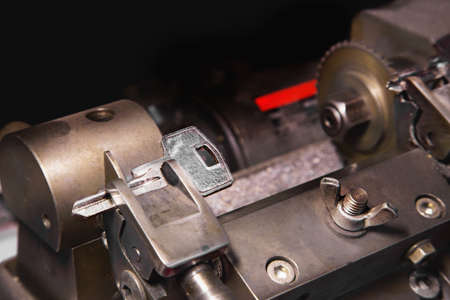 Close view of key copying machine with keys Stock Photo