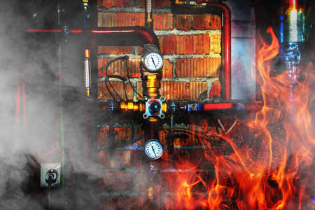 Fire, smoke and steam in a boiler room. Thermometers, pipes, valves and overheated chimney. Close up Stok Fotoğraf - 93333935