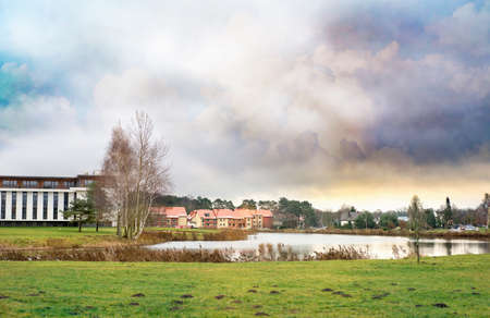 Landscape of Birstonas city in Lithuania on a cloudy day Imagens