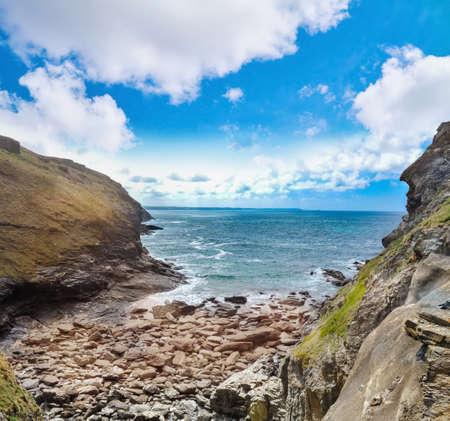 View of the rugged coastline at Tintagel, Cornwal. UK.