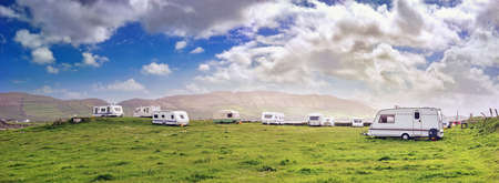Panoramic view with white campers in a  resort of south west Ireland 版權商用圖片