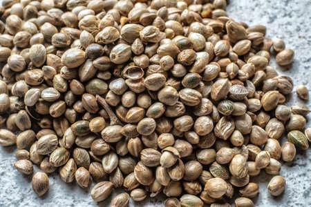 Hemp seeds. Top view. Close up.