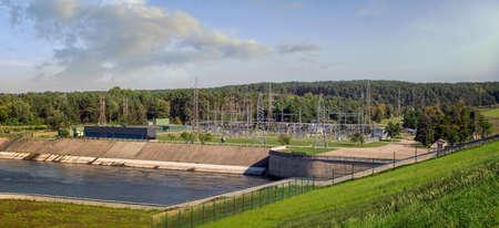 Kaunas Hydroelectric Power Plant, located on the Nemunas River. Its dam created the Kaunas Reservoir. 110-kV switchgear.