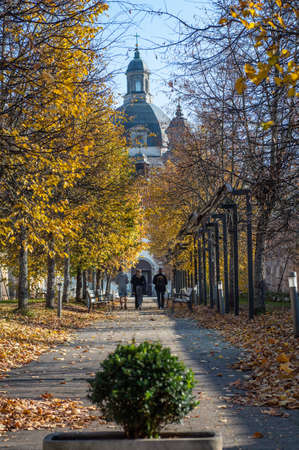 Pazaislis Monastery and the Church of the Visitation form the largest monastery complex in Lithuania. Central gate in autumn.
