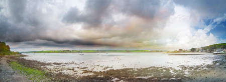 Panoramic view of a river Arigideen delta at low tide. County Cork, Ireland.