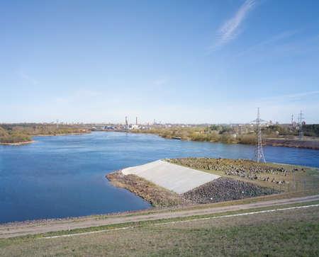 Kaunas Hydroelectric Power Plant dam, located on the Nemunas River. Its dam created the Kaunas Reservoir. Stock fotó