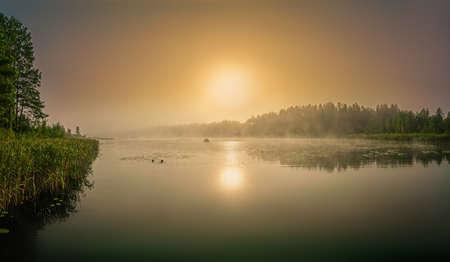 Beautiful foggy sunrise on the lake in autumn. Lithuania.