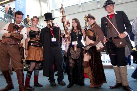 San Diego Comic Con July 21-24, 2011. The world�s largest convention of its kind featuring media, movies, comic books, anime, entertainment, video games and more! Photo of group of people dressed in Steampunk taken on July 23rd, 2011.