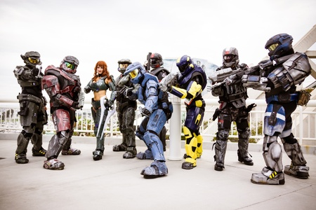 San Diego - July 12, 2012. Photo of a group of cosplayers dressed in Halo armor taken on July 12th, 2012 at San Diego Comic Con. The world�s largest convention of its kind featuring media, movies, comic books, anime, entertainment and more!