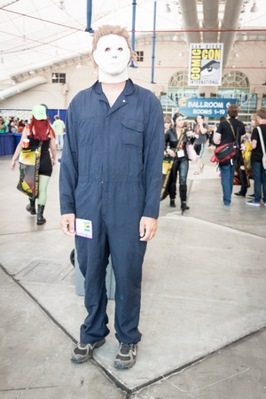 San Diego - July 12, 2012. Photo of man dressed up as Michael Myers from the Halloween movies taken on July 12th, 2012 at San Diego Comic Con. The world�s largest convention of its kind featuring media, movies, comic books, anime, entertainment and more!