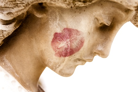 Closeup of angel s face with kiss on cheek  Stock fotó