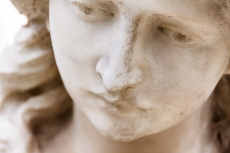 angel cemetery: Closeup of angel s face