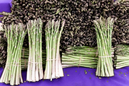 Bunches of asparagus on display at the farmers market.