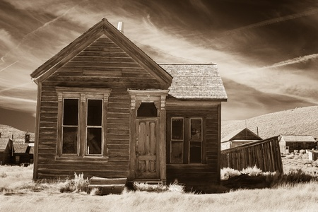 old mining building: Rustic old house in sepia tone  Stock Photo