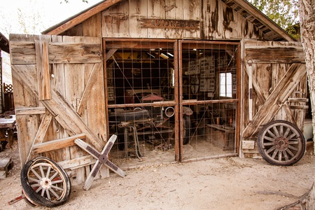 An antique wooden auto garage.