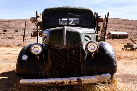 old mining building: Old abandoned truck at a ghost town