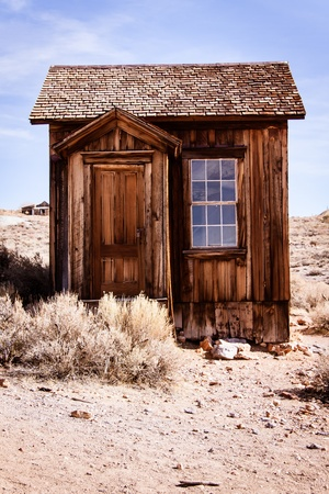 Small abandoned old house in Bodie ghost town  photo