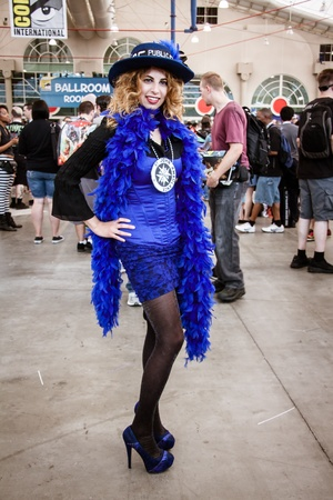San Diego - July 20, 2013  Photo of attractive female dressed as a Tardis from Dr Who taken on July 20th, 2013 at San Diego Comic Con  The world�s largest convention of its kind featuring media, movies, comic books, anime, entertainment and more