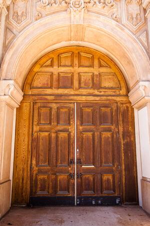 Large wooden doors in Balboa Park, San Diego.