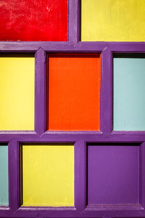 artsy: Detail of a colorful door at an art studio Stock Photo