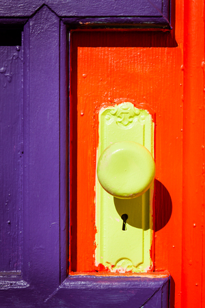 Detail of a colorful door at an art studio Stock Photo