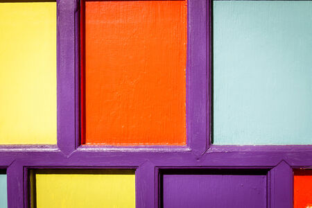 side effect: Detail of a colorful door at an art studio Stock Photo