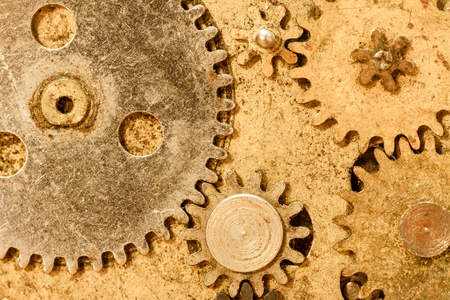 Close up of grungy looking vintage watch parts  photo