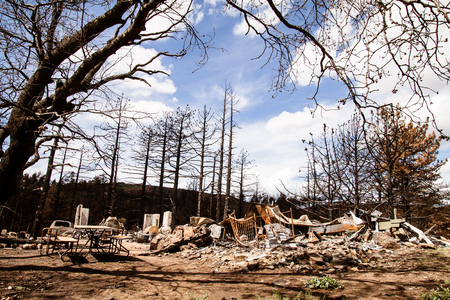 The charred remains of a house after a devastating forest fire photo