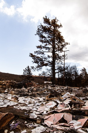 The charred remains of a house after a devastating forest fire