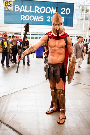 San Diego Comic Con, July 18-21, 2013. The worlds largest convention of its kind featuring media, movies, comic books, anime, entertainment and more. Photo of man dressed as a Spartan warrior taken on July 20th, 2013. Editorial