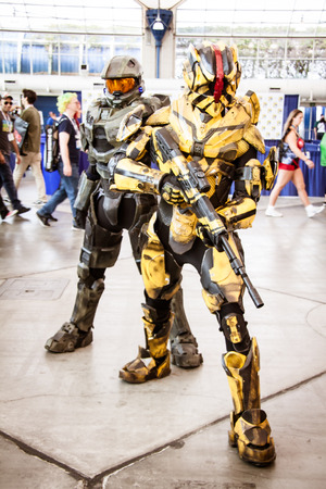 San Diego Comic Con, July 18-21, 2013. The worlds largest convention of its kind featuring media, movies, comic books, anime, entertainment and more. Photo of two Halo soldiers taken on July 20th, 2013. Editorial