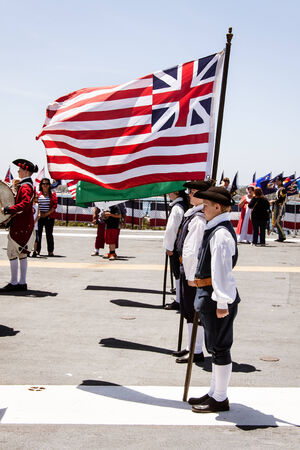 Flag Day celebration � June 7th, 2014  Young flag colorguard performing aboard the USS Midway in San Diego, CA in celebration of Flag Day  Photo taken on June 7th, 2014