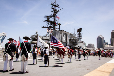 Flag Day celebration � June 7th, 2014  A fife and drum corps performing aboard the USS Midway in San Diego, CA in celebration of Flag Day  Photo taken on June 7th, 2014