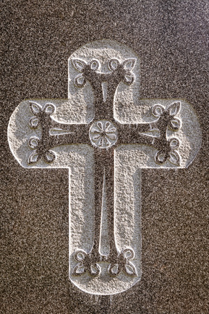 etch: Closeup view of etched cross on marble Stock Photo
