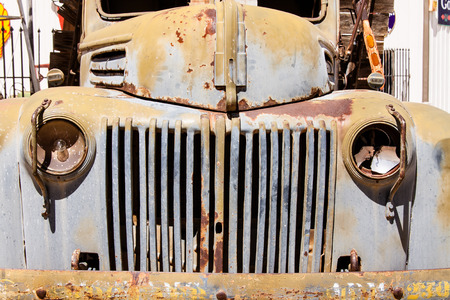 car grill: Front view of abandoned rusted old truck. Stock Photo