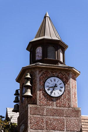 European style clock tower in daylight