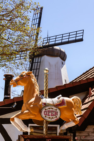 Horse and windmill in the Danish town of Solvang near Santa Barbara, CA.