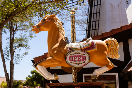 Horse open sign in the Danish town of Solvang near Santa Barbara, CA.