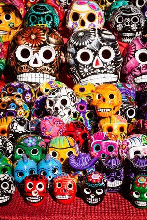 dia de los muertos: Display of colorful sugar skulls during Dia de los Muertos event.