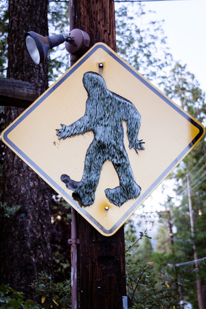 Road sign warning of Bigfoot ahead. Stock fotó