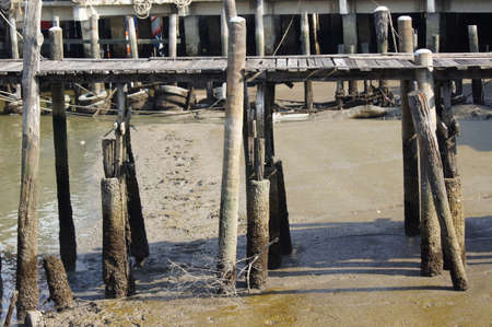 olden: Olden Wood bridge of Ancient dock in Thailand